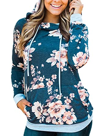 1e67f9e8d WD-Amour Women s Floral Print Casual Drawstring Long Sleeve Hoodie ...