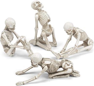 Amazon.com: Transpac - Juego de 4 figuras de esqueleto de ...