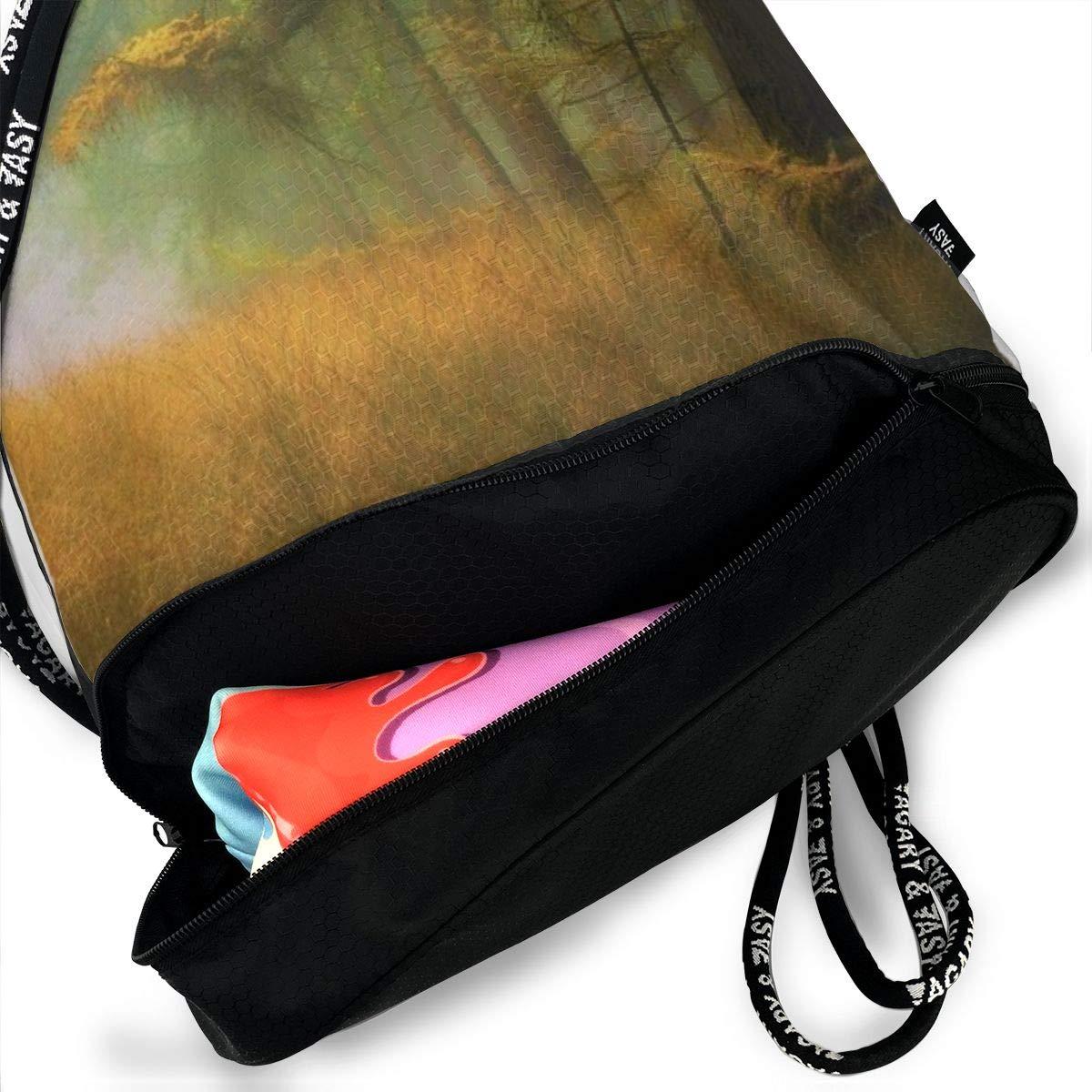 Kji Gym Sack Drawstring Bag Women Scenery Forest Printed Sackpack Sport Cinch Pack Backpack for Men