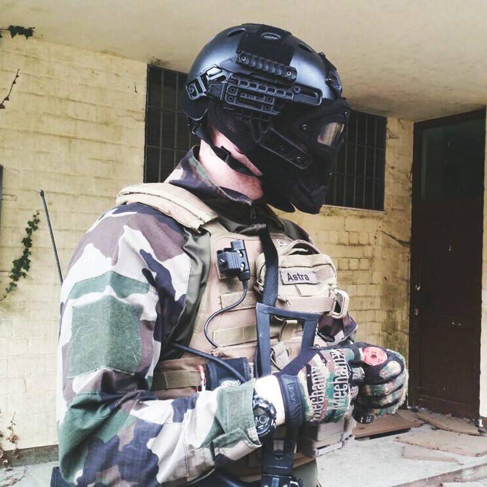 OneTigris táctica Casco Fast PJ Tipo con Rejilla de protección de Gafas y máscara para Airsoft Paintball