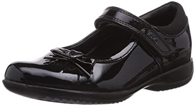 Clarks Girls DAISY GLEAM Black Patent Leather School Shoes/_ Various Sizes