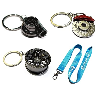 4 Heavy Duty Metal Keychain Set - Spinning Turbo | Gunmetal Wheel | Rotor Keychain + GT//Motorsports Lanyard: Automotive