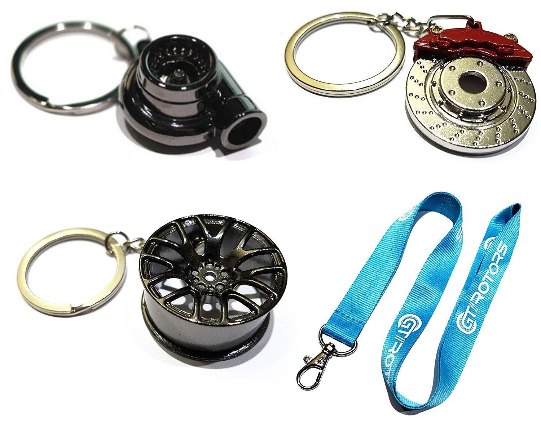 4 Heavy Duty Metal Keychain Set - Spinning Turbo | Gunmetal Wheel | Rotor Keychain + GT//Motorsports Lanyard GT//Rotors