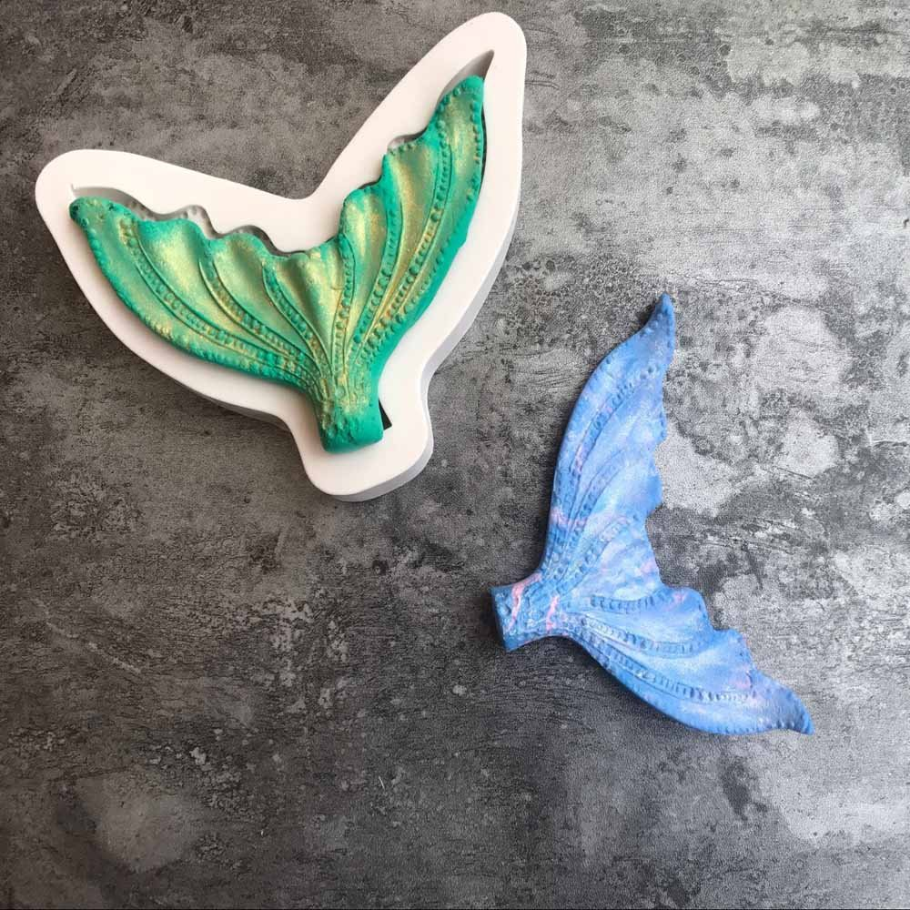 Big Fishtail Clay Silicone Mold Pendant Mold with Jewelry Molds,Earring Necklace Making and DIY Craft Making K132 Cake Fondant Candy Mold Epoxy Resin