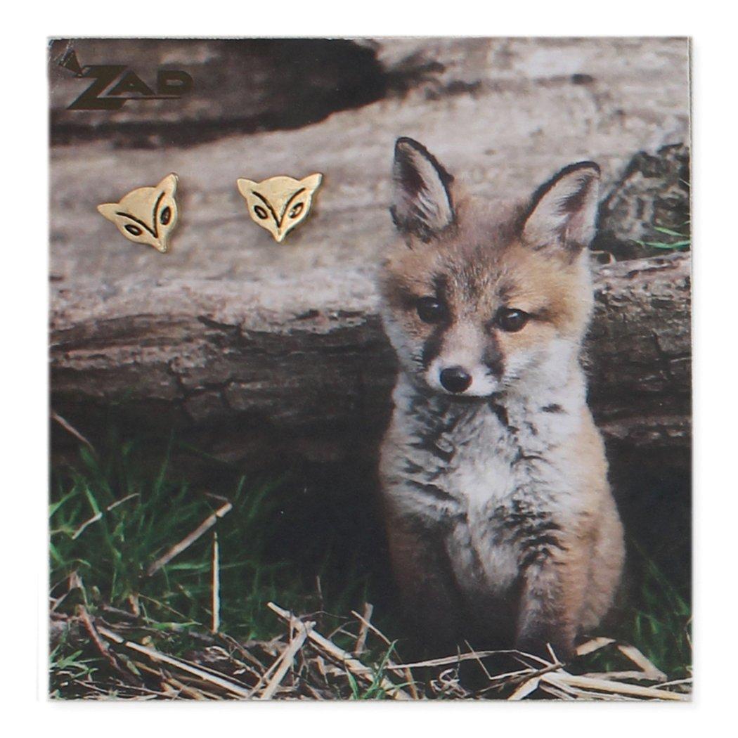 Zad Jewelry Fox Stud Earrings Golden