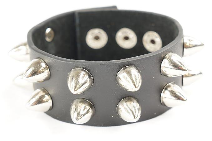 34cbf4f98 Amazon.com: Punk Gothic 2 Rows Stud Spike Rivet Faux Black Leather Wide  Bracelet Wristband: Clothing
