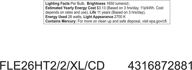 100-watt replacement 1650-Lumen T2 Spiral Light Bulb with Medium Base 1-Pack GE Lighting 72881 Energy Smart Spiral CFL 26-Watt