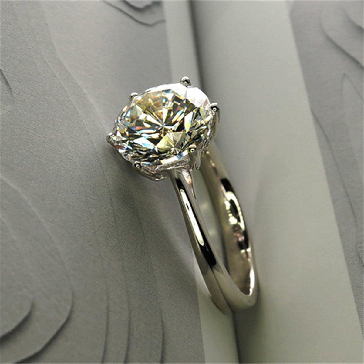 3310ceb8a Amazon.com: Erllo 4ct Round Brilliant Nscd Sona Simulated Diamond Solitaire Wedding  Engagement Ring - Finger Size 4-10: Jewelry