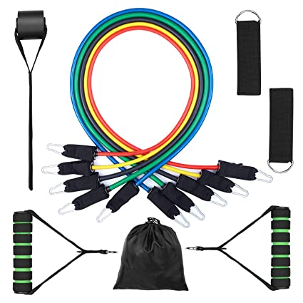 Include 5 Stackable Exercise Bands with Portable ... Ausdauertraining Resistance Bands Set 11pc