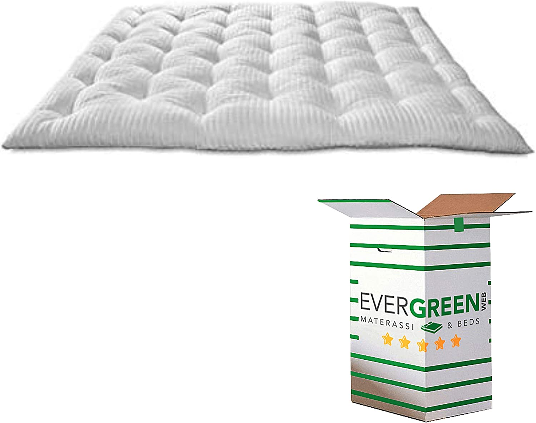 EvergreenWeb - Mejor Topper Colchón Matrimonial 160x200 en Espuma Viscoelástica de 8 cm de Altura con Acolchado de 100% Arco Suave, Corrector para ...