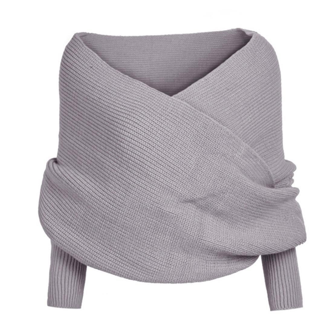 DDLBiz Women Fashion Design Scarf Sleeve Crochet Knit Long Winter Shawl (Gray)