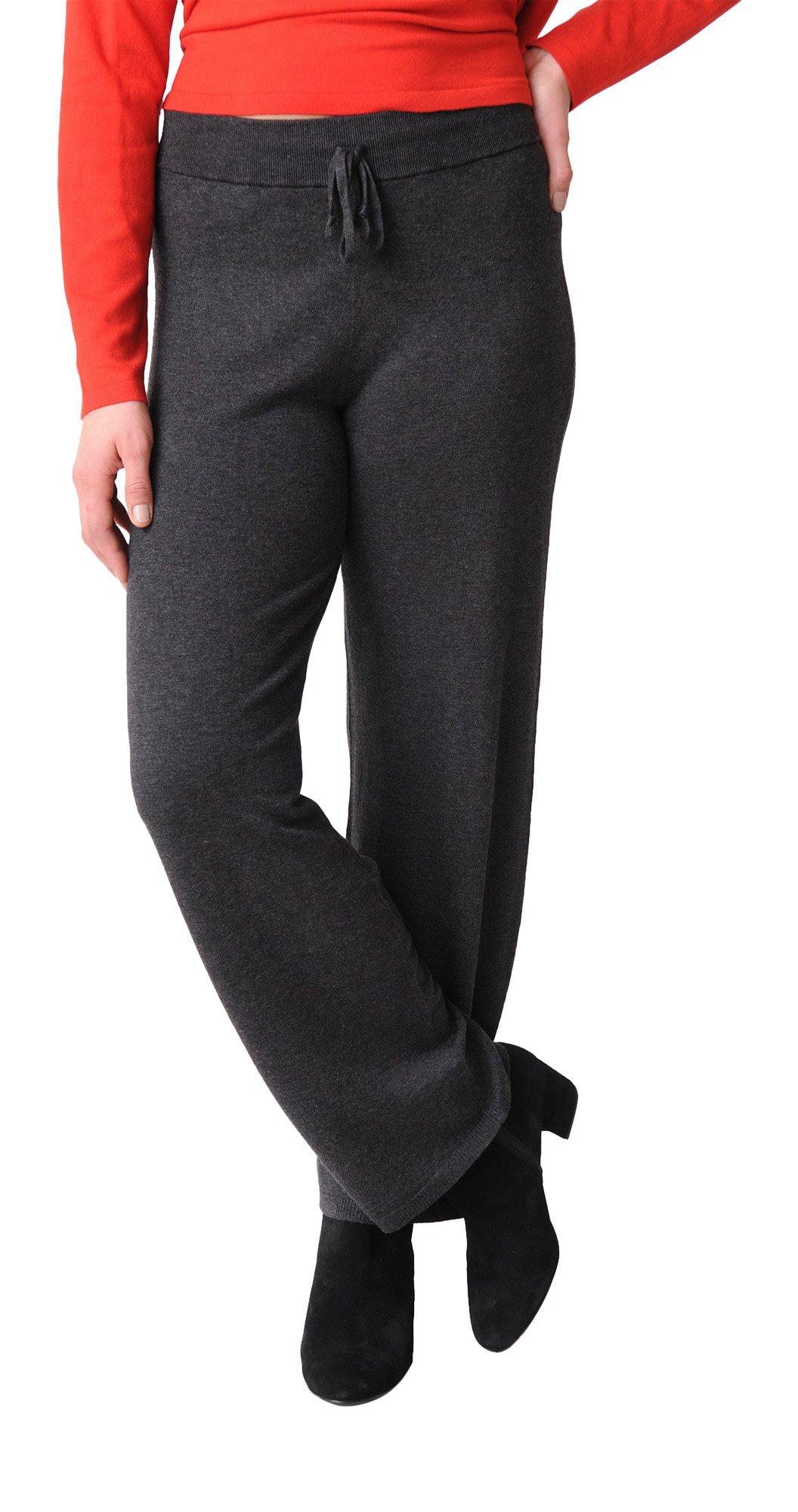 Eileen Fisher Lightweight Cozy Tencel Stretch Drawstring Wide Leg Pant (L, Charcoal)