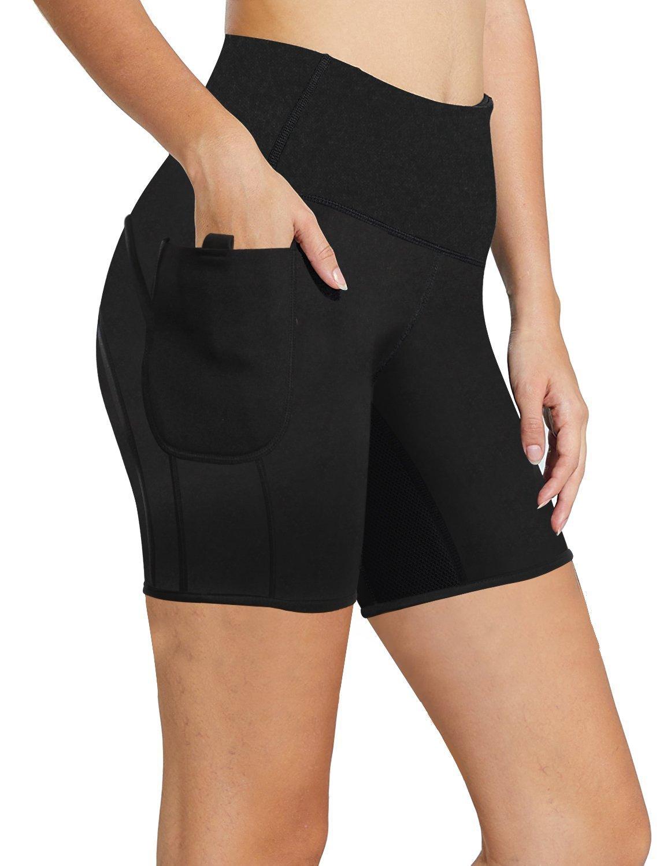 99de9a05b56 Women Weight Loss Hot Neoprene Sauna Sweat Pants with Side Pocket Workout  Thighs Slimming Capris Leggings