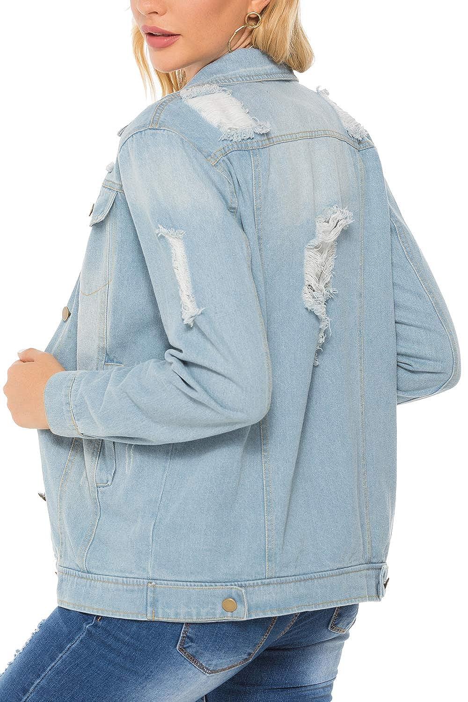 Suvotimo Women Denim Jackets Ripped Button Down Jean Coats