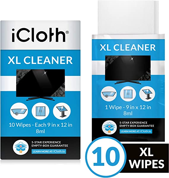 iCloth Lens and Screen Cleaner Pro-Grade Individually Wrapped Glass Surface Cleaner