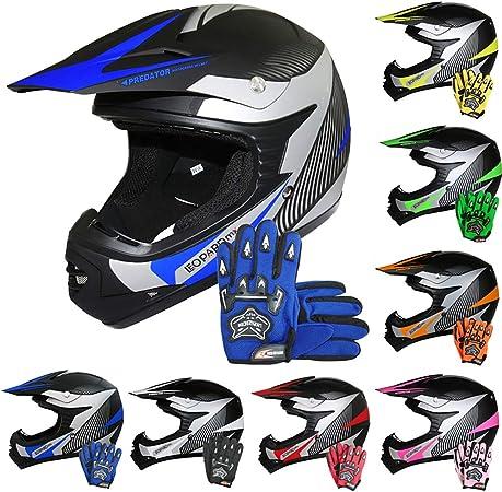 Leopard Leo X19 Kinder Motorrad Helm M 51 52cm Handschuhe M 6cm Blau Kinder Motocrosshelme Mädchen Jungen Dirt Bike Fullface Mx Helm Auto