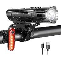 WOTEK Luces para Bicicleta LED Impermeable, Luces Bicicleta Delantera y Trasera Recargable USB, 4 Modos de Lluminación…