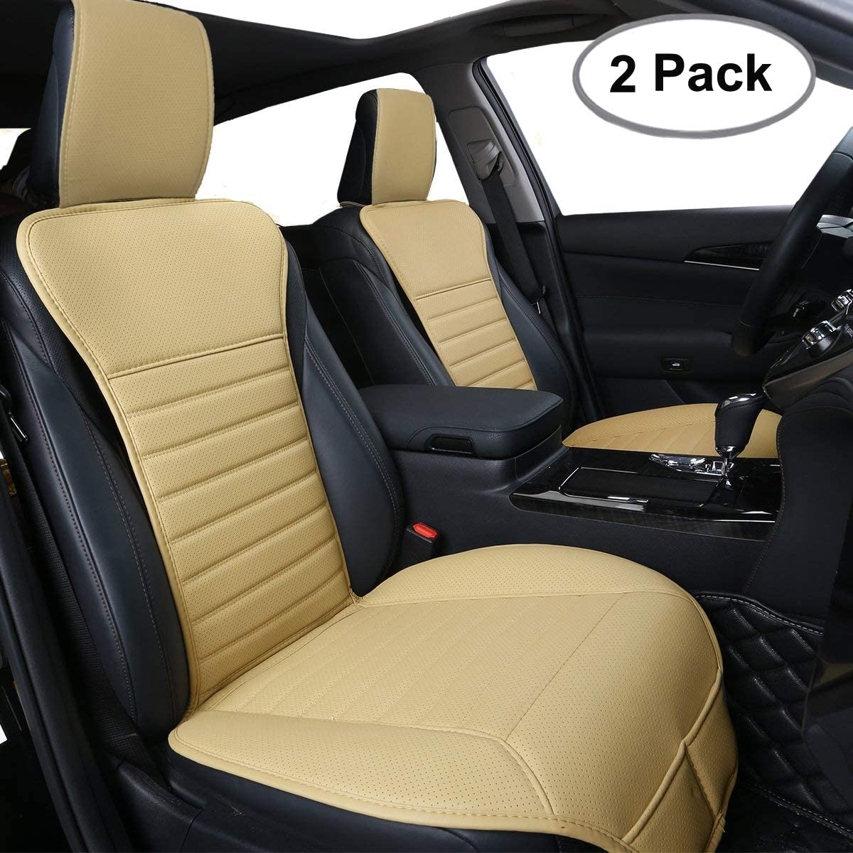 Big Ant Car Seat Cushion, Sleek Design Full Size 2 PCS Breathable Universal Four Seasons Interior Front or Back Seat Covers for Auto Supplies Office Chair with PU Leather(Beige)