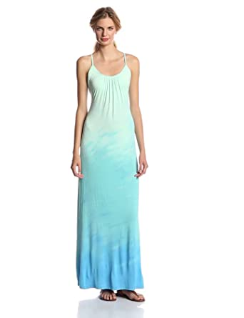 Gypsy 05 Women's Tie-Back Spaghetti Maxi Dress, Aqua/Turquoise, X-Small