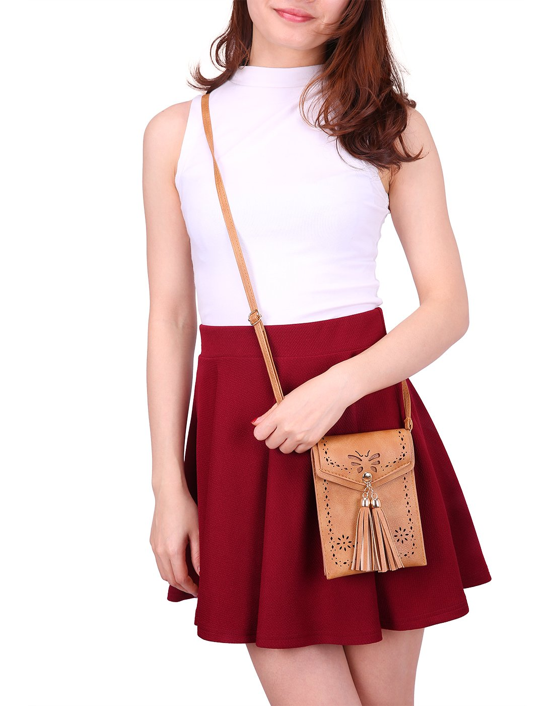 HDE Small Crossbody Pouch Purse Tassel Travel Phone Wallet Vintage Leather Bags (Brown) by HDE (Image #5)