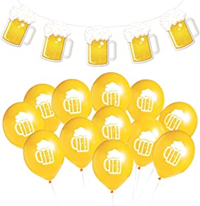 Beer Party & Oktoberfest Decorations - Frothy Mug Garland (10 Foot Long) with 12 Beer Stein Balloons