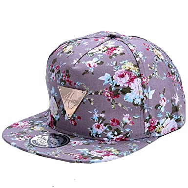 dfcb59022b7 Image Unavailable. Image not available for. Colour  Zeagoo Floral Flower  Snapback Hip-Hop Hat Flat Peaked Adjustable ...