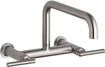 KOHLER K-7549-4-VS Purist Wall-Mount Bridge Faucet, Vibrant ...