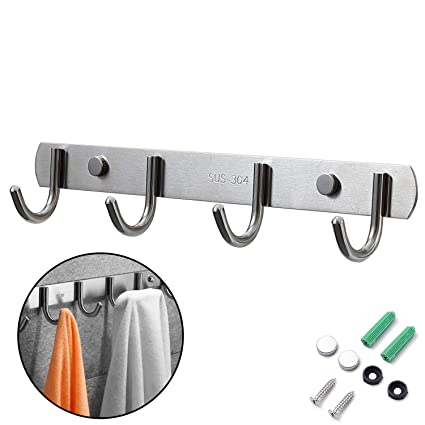 Perchero Pared, Ganchos Percheros de Pared de Montaje para Dormitorio Baño y Cocina, Perchas de Acero Inoxidable Engrosado Plata (4 Hook)