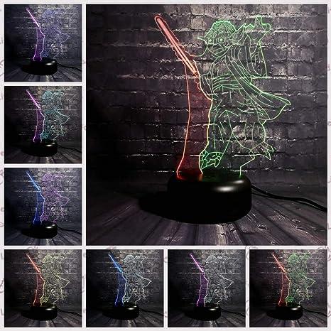 sakj-d Nueva Lámpara 3D Yoda Jedi Líder Espada Color Mezclado Multicolor Led Night Night