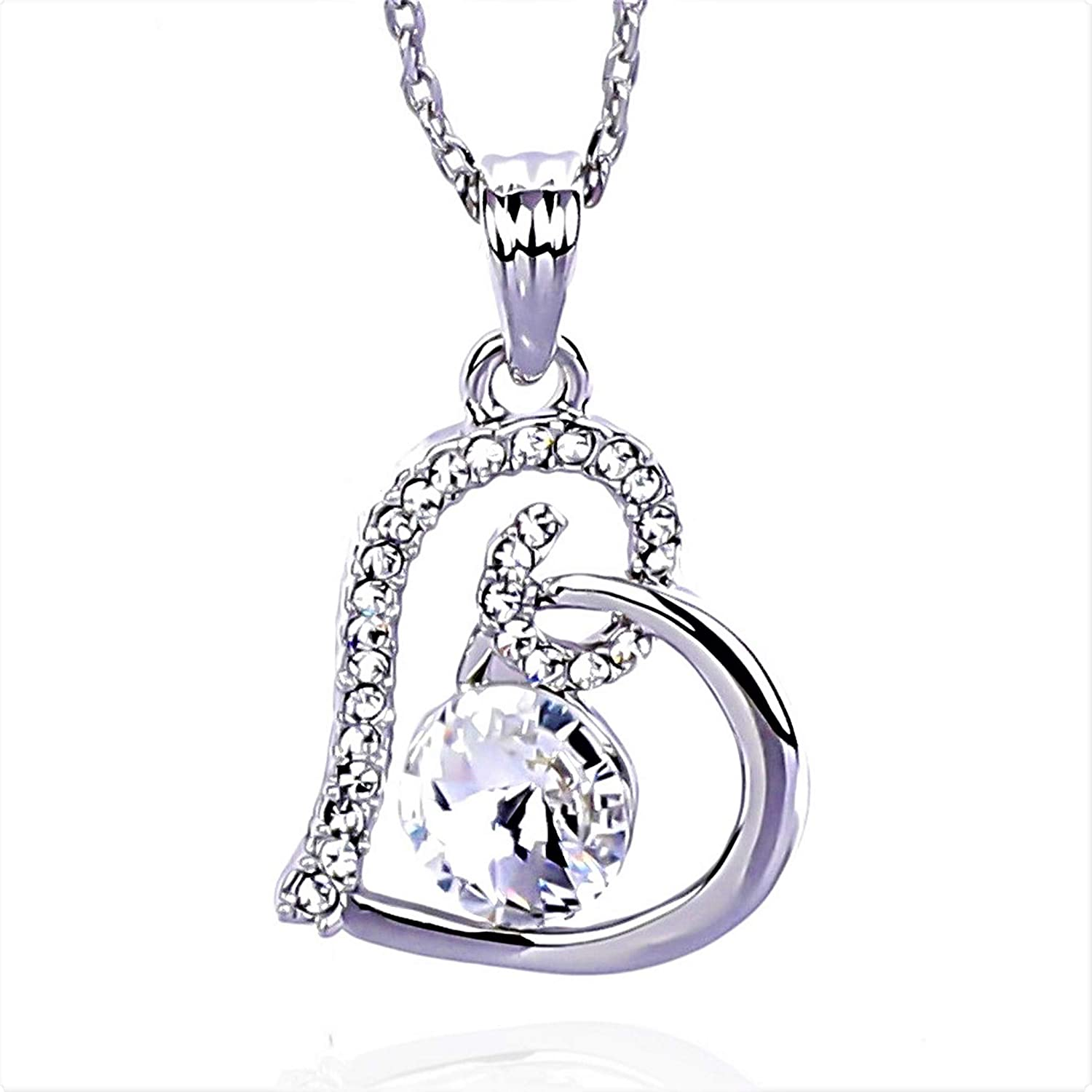 NickAngelo s Birthstone Love Heart Pendant Necklace Platinum Plated Made  With Swarovski Elements Elegant Custom Jewelry For Women by Month And Color  of ... 00327b543f