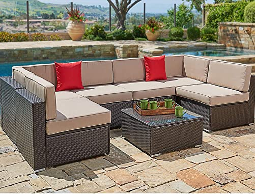 SUNCROWN Outdoor Patio Furniture 7-Piece Wicker Sofa Set, Washable Seat Cushions with YKK Zippers and Modern Glass Coffee Table Clips Brown Cushion