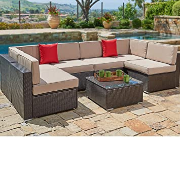 Suncrown Outdoor Sectional Sofa 7 Piece Set Wicker Furniture W Brown Washable