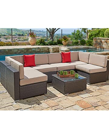bc70158a8dbb7 SUNCROWN Outdoor Patio Furniture Set (7-Piece Set) Brown Wicker Patio Sofa  Set