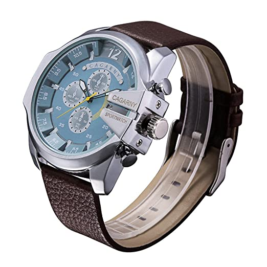 Dz Full hombre acero reloj Militar Hombres de cuarzo reloj de pulsera de nuevo más vendido hombres de Atmos reloj piel deportes marcas relojes: Amazon.es: ...