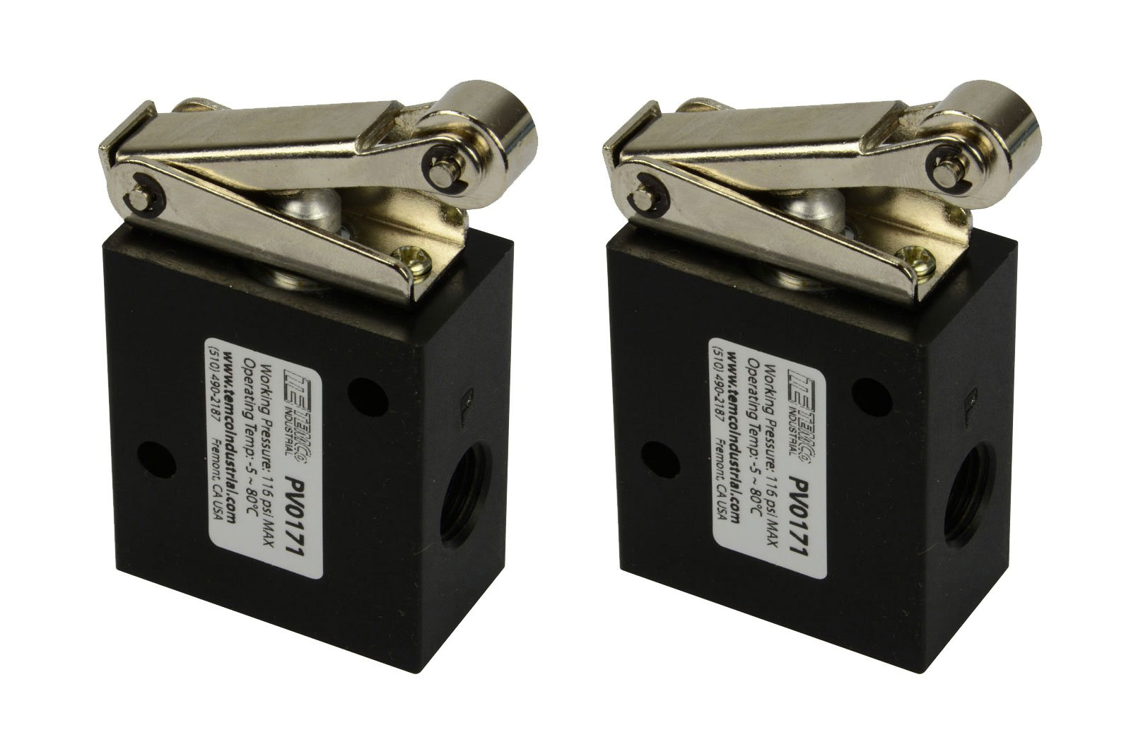 2 Qty Roller Limit Switch Normally Closed Pneumatic Air Control Valve 3 Port 3 Way 2 Position 1/4'' NPT by TEMCo