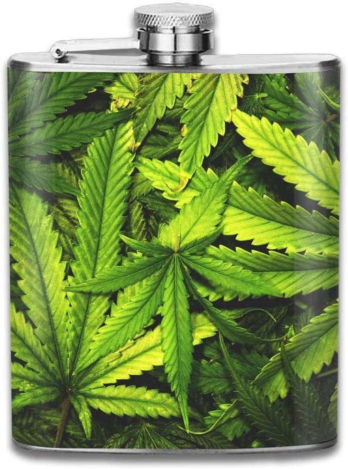 iuitt7rtree Cool Words Leaf Weed Portable Stainless Steel Flagon Liquor Flask