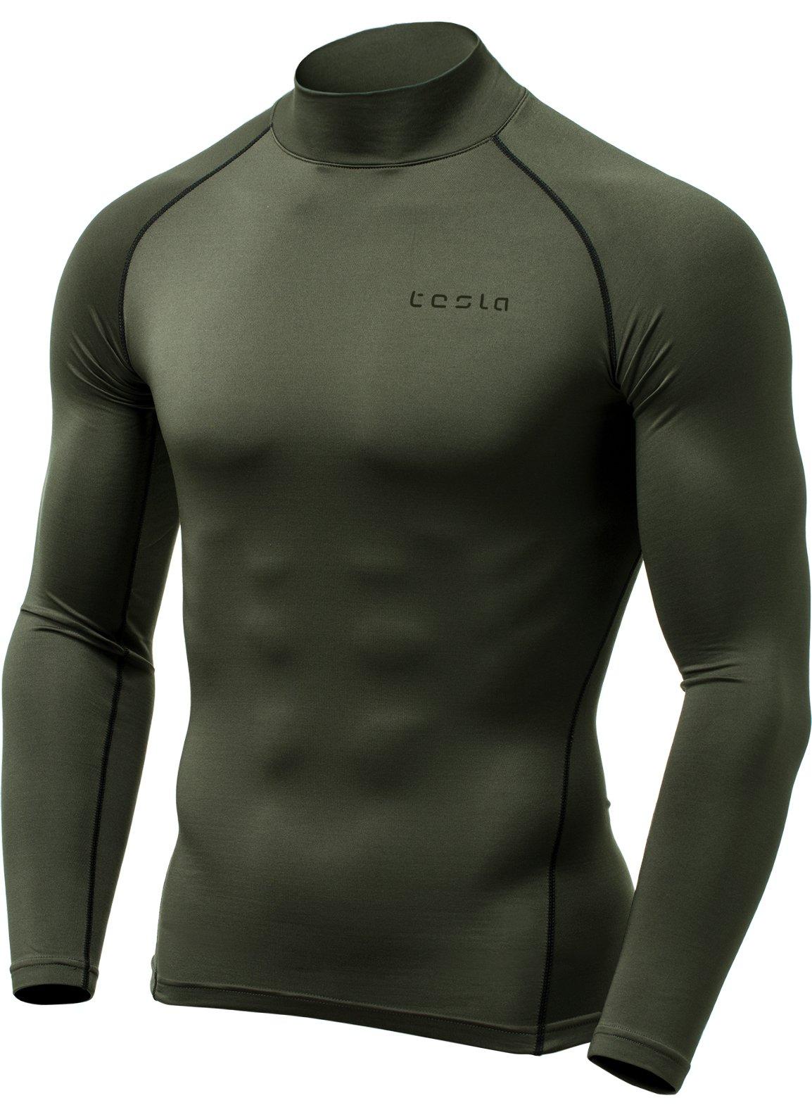 TSLA Men's Thermal Wintergear Compression Baselayer Mock Long Sleeve Shirt, Thermal Mock Neck(yut32) - Olive, X-Small