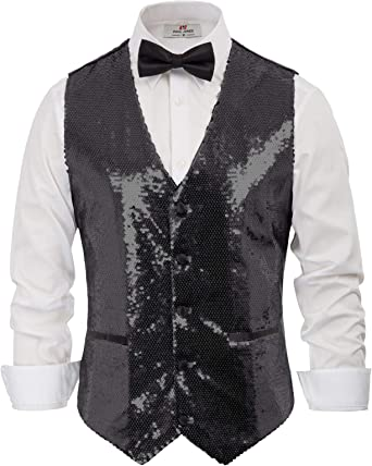 New Men/'s Tuxedo Vest Waistcoat Only Sequin Silver Wedding Party Prom formal