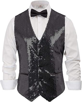 Men/'s Sequins Vest Slim Fit Sparking Button Down Fashion Waistcoat Party