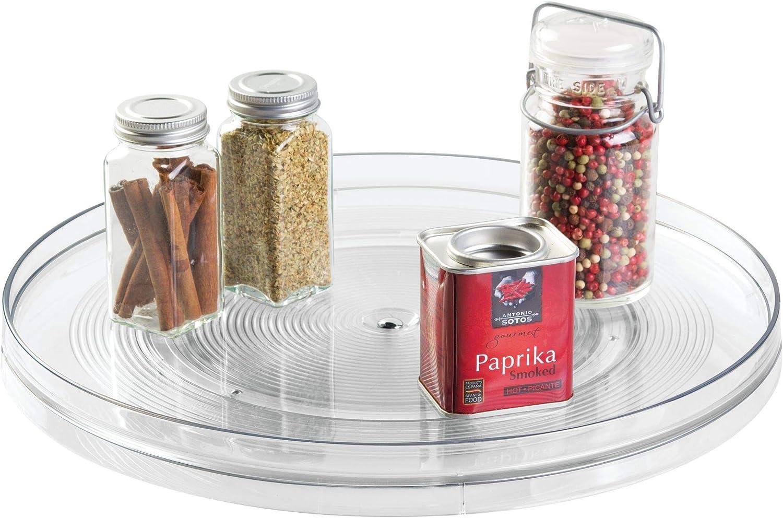 iDesign Plato giratorio para cocina, organizador de armarios extragrande de plástico libre de BPA, especiero giratorio para guardar especias y tarros en la despensa, transparente
