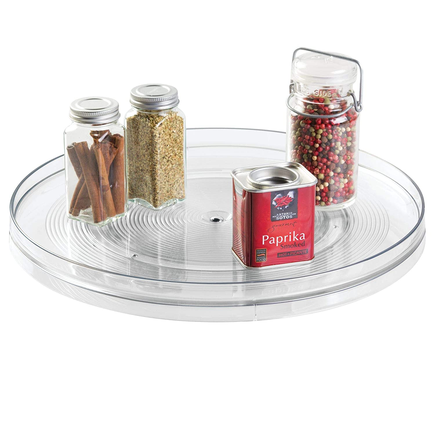interDesign Linus Turntable Kitchen, Organization for Pantry, Countertop, Shelf, Table, Vanity, Bathroom, 14 Inches Clear
