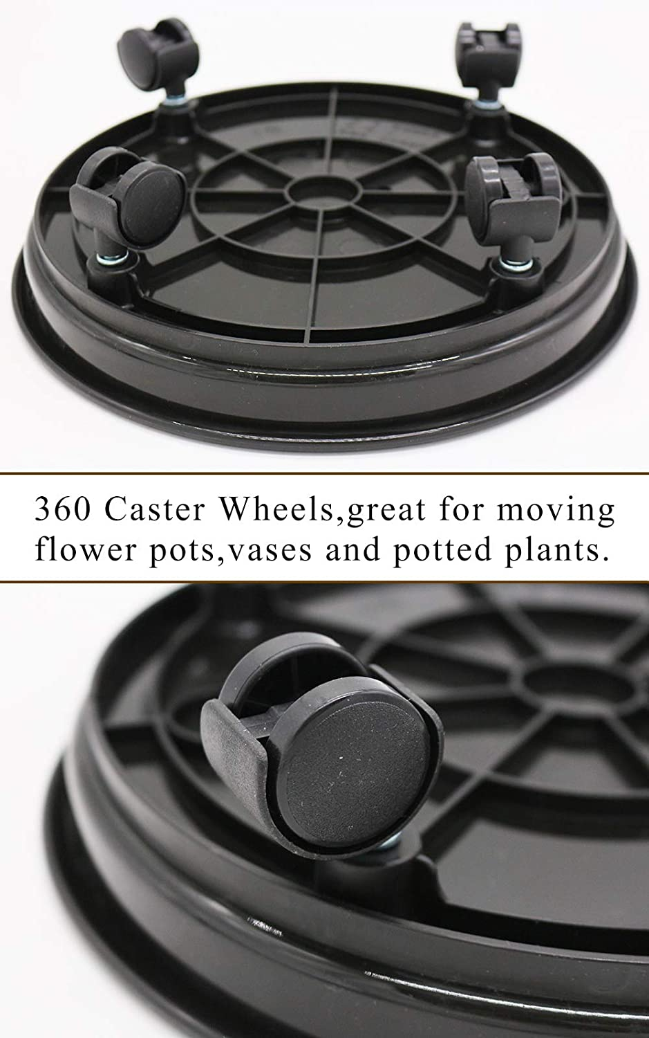 12 Black Plant Caddy,2 Pack of Plant Pallet Caddy with Wheels Round Flower Pot Mover Indoor Rolling Planter Dolly on Wheels(2 Pack)