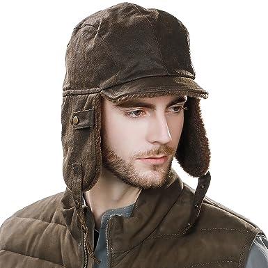 Skiing Hats for Men Pilot Hat Aviator Cap Leather Brown Women Winter  Snowboarding Hat Fleece Lined 95a0aa8aa52