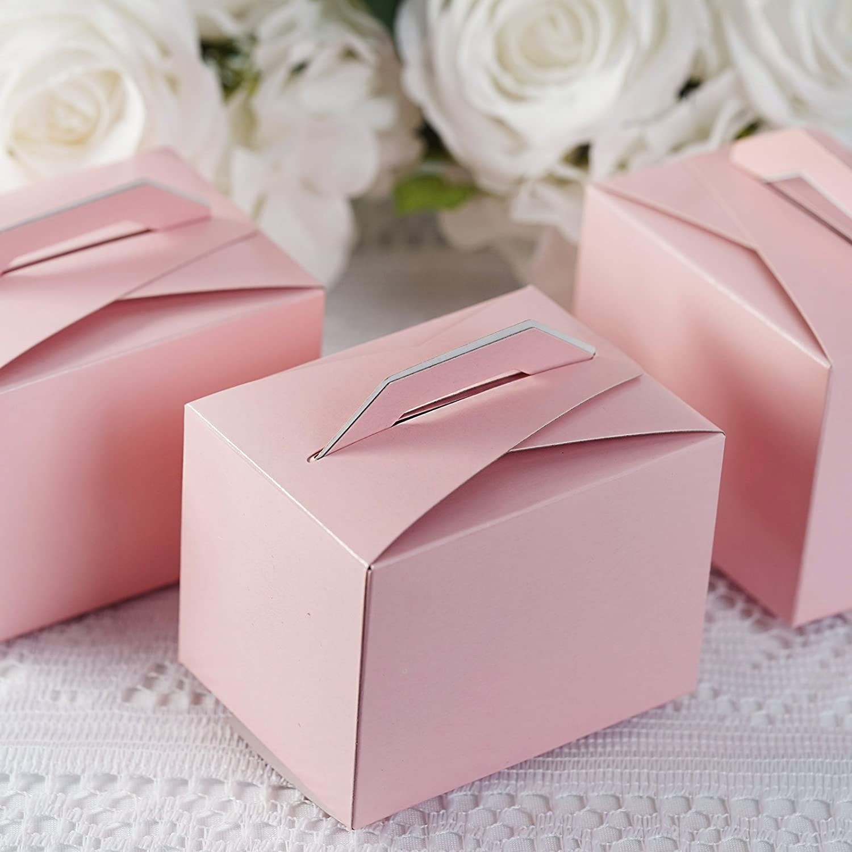 Amazon.com: BalsaCircle 100 Pink Wedding Favors Tote Boxes Handles ...