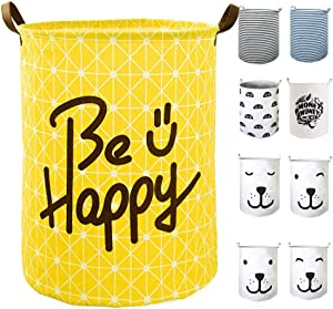 "SEAFOWL 19.7"" Collapsible Laundry Basket,Round Canvas Waterproof Large Storage Basket Cute Cartoon Nursery Basket (Yellow Happy)"