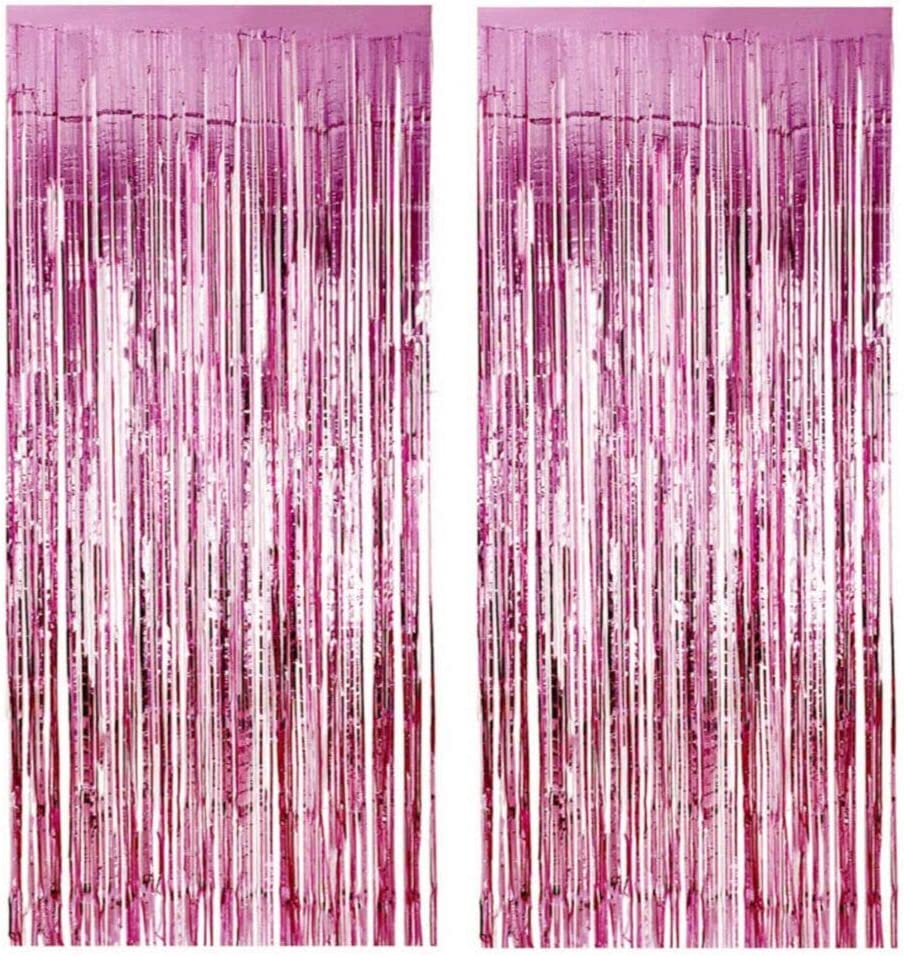 MORANTI 3 ft x 8 ft Pink Foil Curtains Metallic Foil Fringe Curtain for Birthday Engagement Baby Shower Party Photo Backdrop Wedding Event Decor (Pink, 2 Pack)