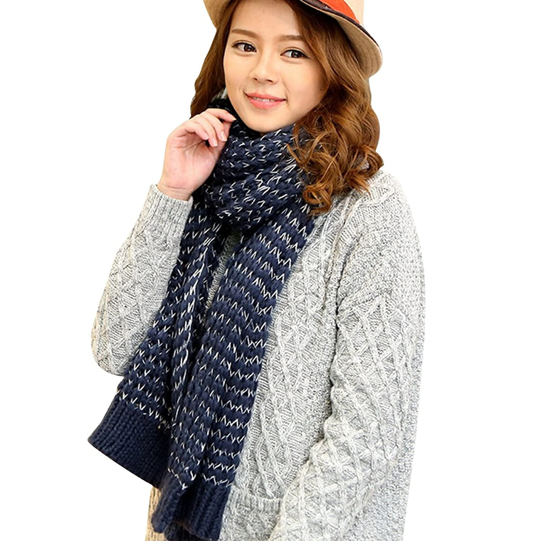 Aivtalk Women Girls Knitting Wool Scarves Winter Thermal Knitted Wraps Shawl