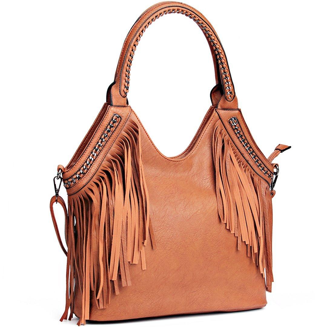 JOYSON Women Handbags Hobo Shoulder PU Leather Fashion Bag Tassels Brown