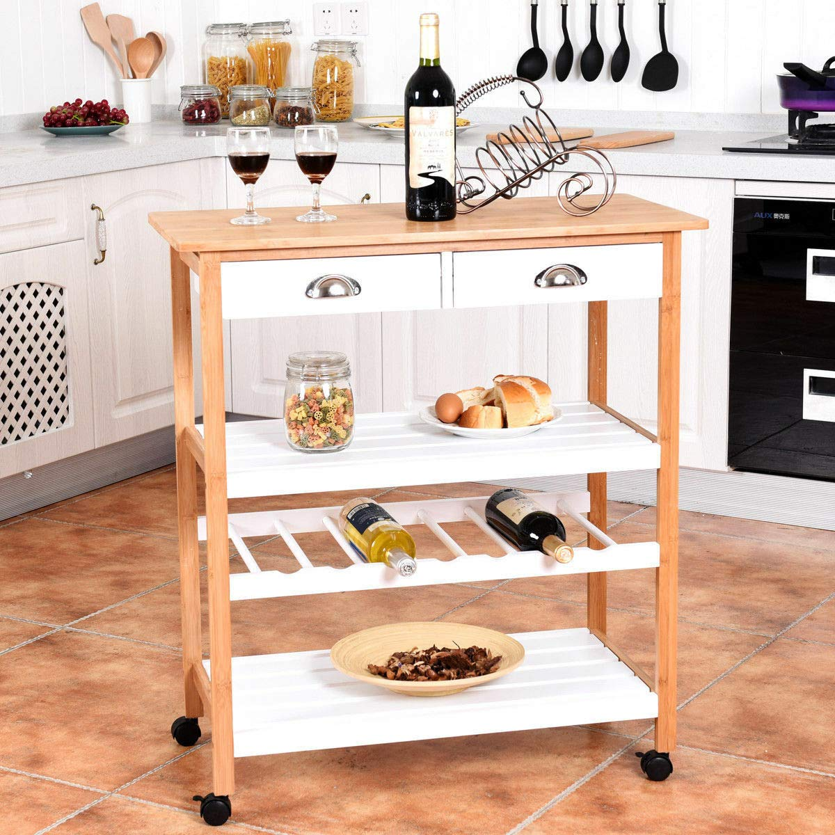 Bamboo Rolling Kitchen Trolley Cart Storage Island Utility w/Drawers&Shelf