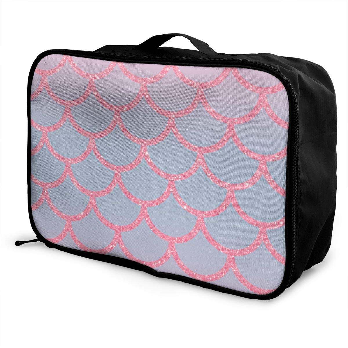 Women /& Men Foldable Travel Duffel Bag Mermaid Fish Scales Pink For Luggage Gym Sports